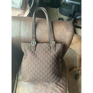 Vera Bradley Expressly Brown Quilted Tote